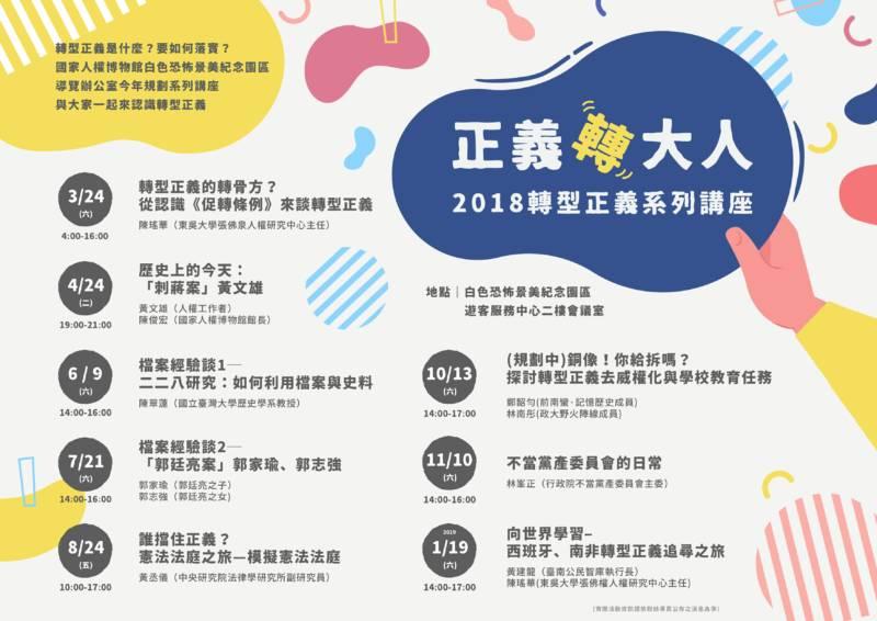 國家人權博物館:2018/06/09、07/21、08/24【正義轉大人-2018轉型正義系列講座】