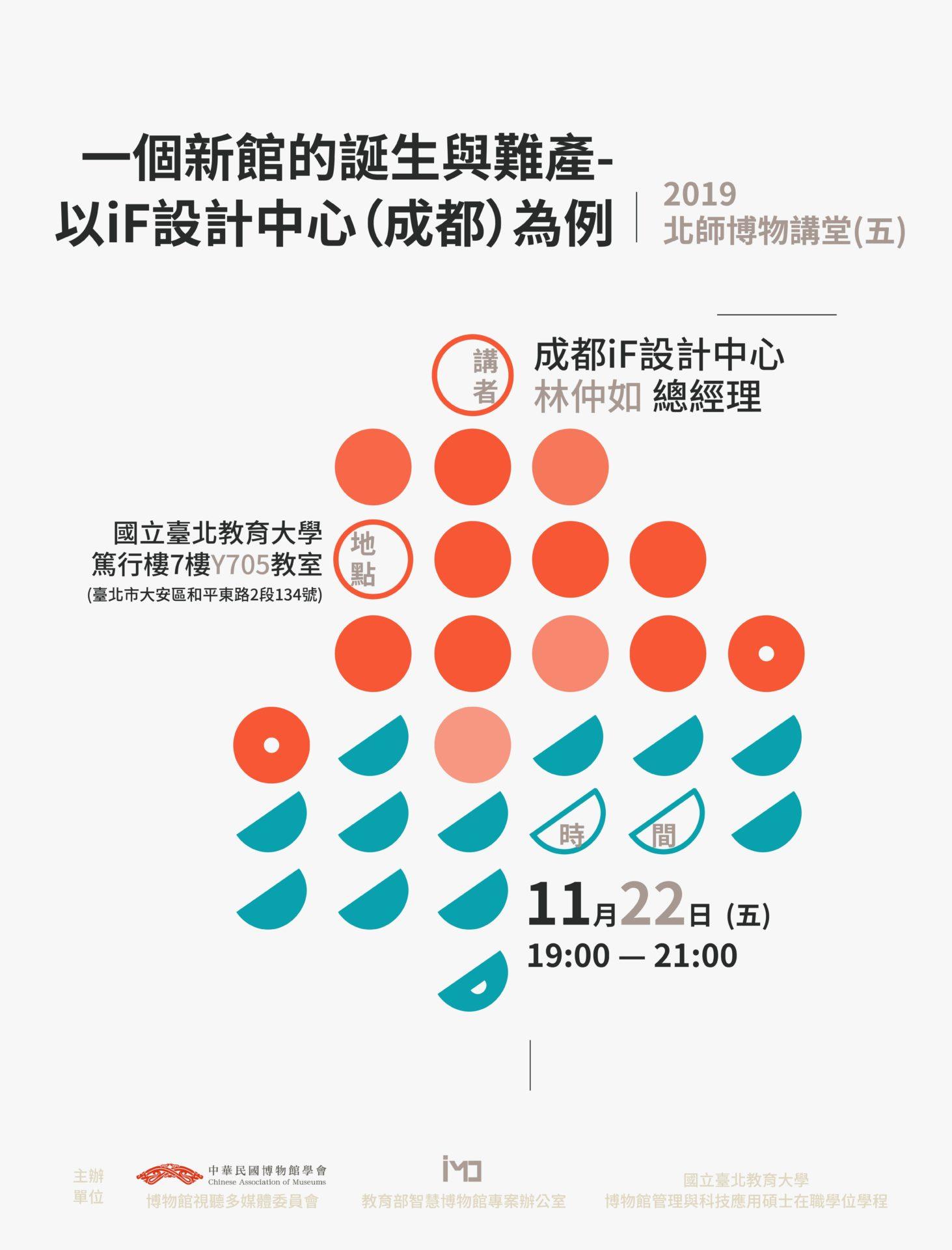 中華民國博物館學會:2019/11/22【2019北師博物講堂-一個新館的誕生與難產—以iF設計中心(成都)為例】