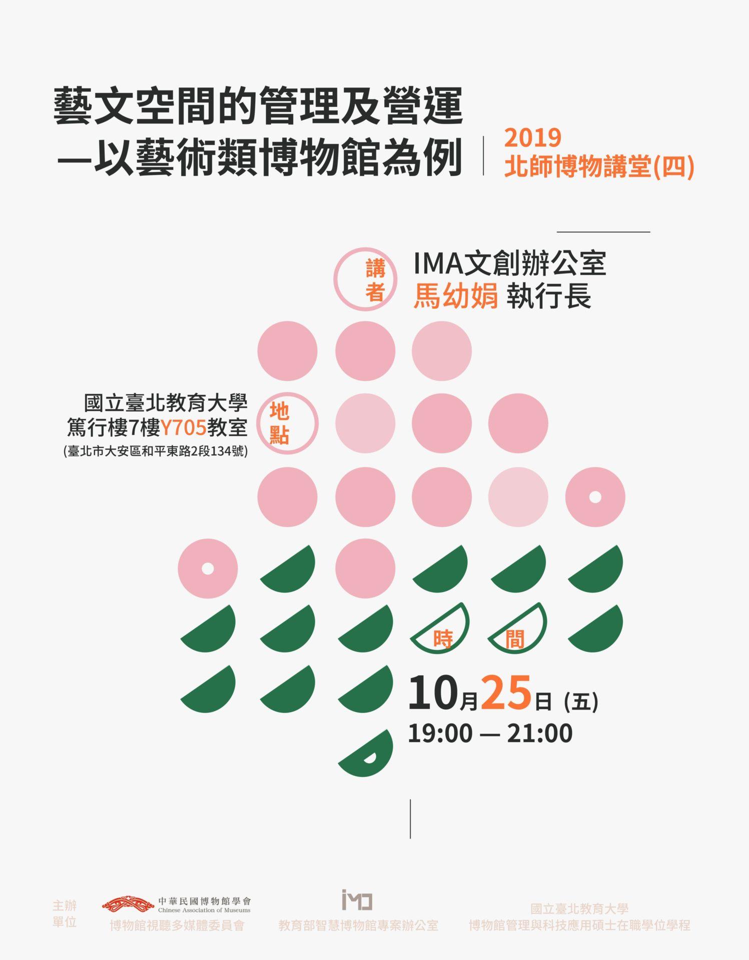 中華民國博物館學會博物館視聽多媒體委員會:2019/10/25【2019北師博物講堂-藝文空間的管理及營運—以藝術類博物館為例】