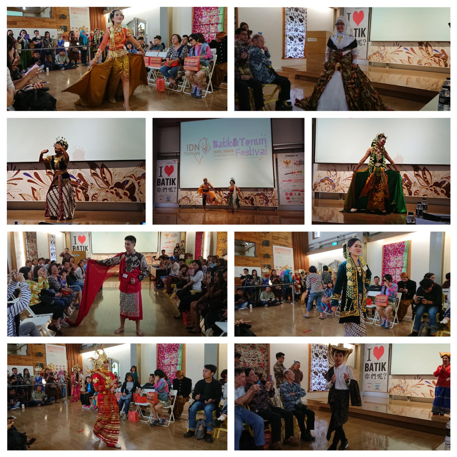 印尼新住民、新二代、移工與學生盛裝打扮,展示印尼傳統舞蹈與風格多變的蠟染服飾。 (攝影:田偲妤)