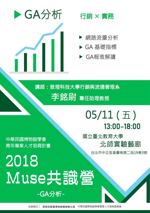 【中華民國博物館學會、教育部智慧博物館專辦共同主辦】2018 Muse共識營-GA分析篇-正取名單公告