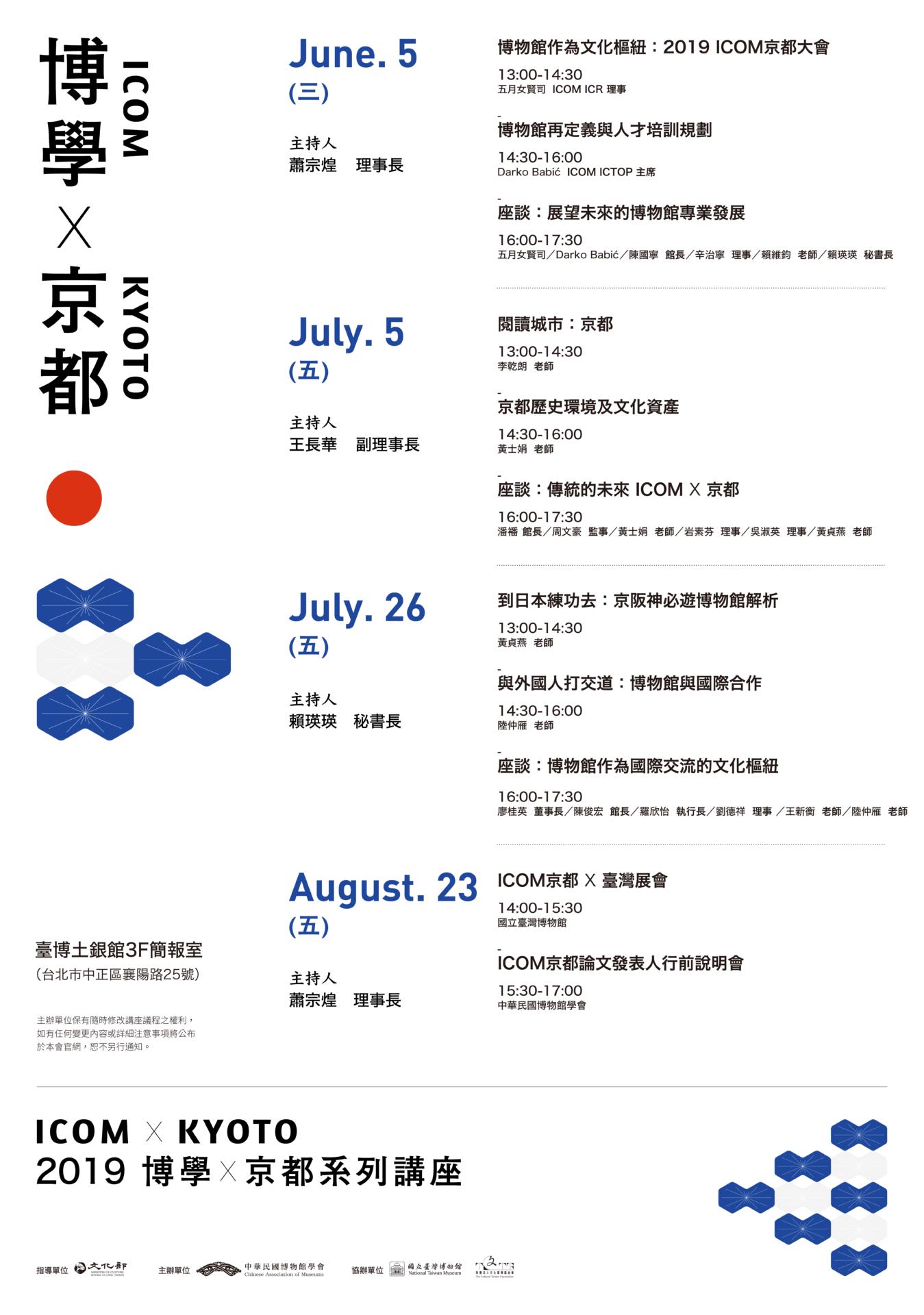 中華民國博物館學會:2019/08/23【「博學.京都」系列講座暨發表人交流會 】