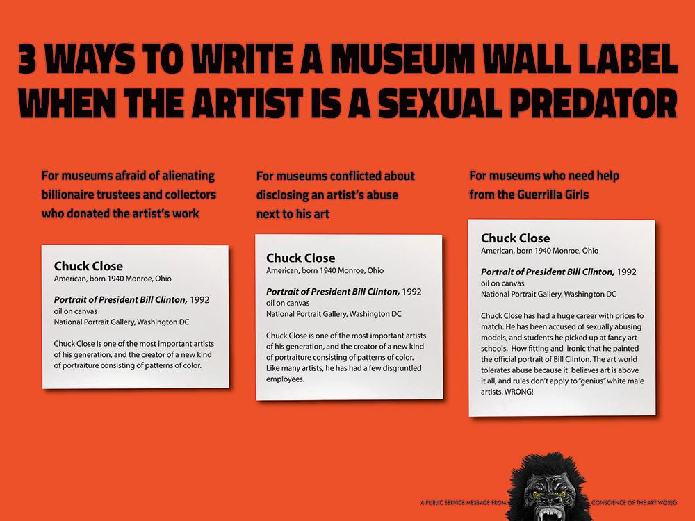 游擊女孩以藝術家Chuck Close為素材的2018年新作-「三種博物館說明牌的書寫方式」,Copyright © Guerrilla Girls,圖片來源Courtesy guerrillagirls.com