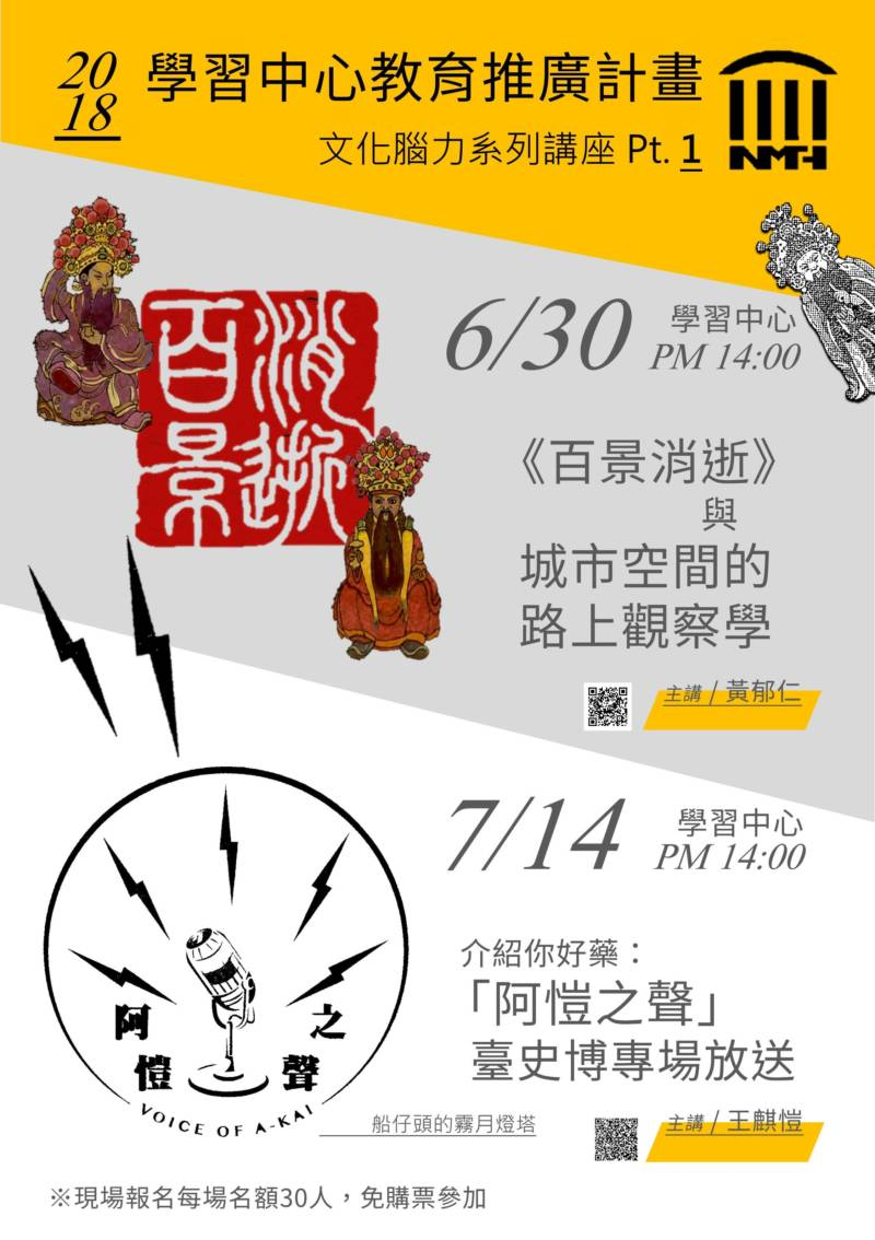 國立臺灣歷史博物館:2018/06/30【「百景消逝」與城市空間的路上觀察學】