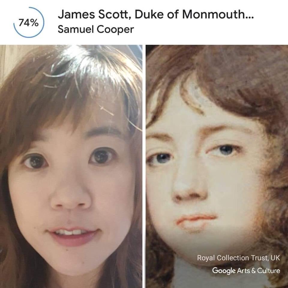使用Google Arts and Culture中的藝術自拍 (Art Selfie)功能,資料庫將提供肖似程度不等的數位典藏作品搜尋結果 (作者提供)