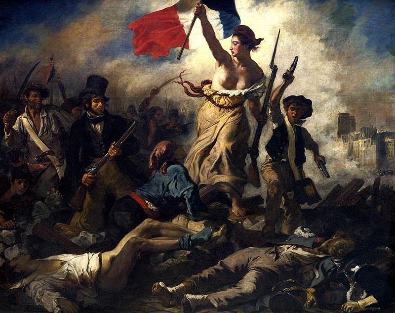德羅克拉瓦 (Eugène Delacroix 1798-1863) 代表作〈自由領導人民〉(1830),藏於羅浮宮。