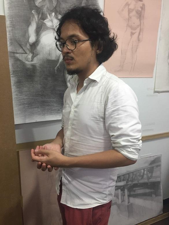 2018年參與計畫的青年藝術家Brandon Ritom分享他的創作跟YAE經驗 (謝宇婷/攝)