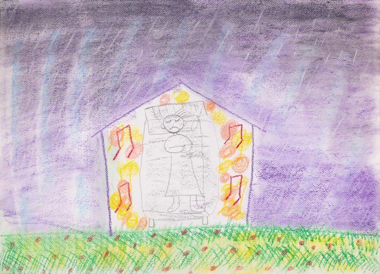 本次展覽作品之一 「外面下著雷雨,身體很不舒服躺在家中,在這麼絕望的環境跟狀態,只能打開音樂讓外面陽光的小草因為音樂進到家裡來。過去10年的時光我常常這樣躺在家中,我多麼希望可以不再過這樣的生活。」