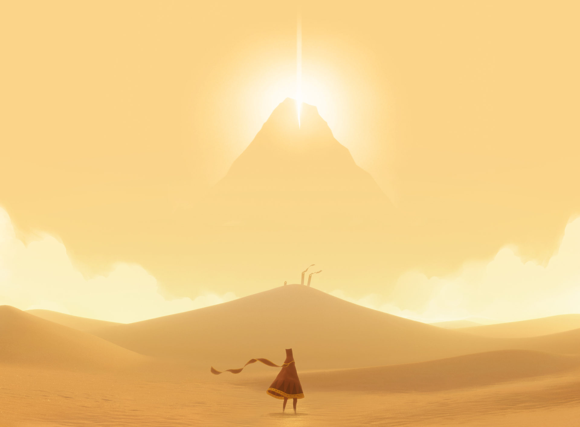 由獨立設計公司製作的《風之旅人》 具詩意的畫面設計,人性化的玩法顛覆傳統遊戲的遊戲設定。