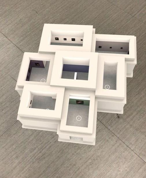 開啟App並偵測環境平面完畢後,維梅爾的AR口袋美術館隨之設置。iPad螢幕截圖 (作者提供)。